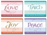 Joy, Love, Faith, Peace Birthday Cards, Box of 12