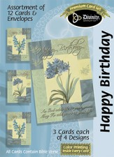 Flowers Happy Birthday Cards, Box of 12