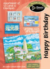 Shells and Scenes Birthday Cards, Box of 12