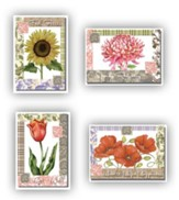 Floral and Fabric Get Well Cards, Box of 12