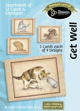 Cats Designs Get Well Cards, Box of 12