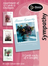 Vase of Flowers Sympathy Cards, Box of 12
