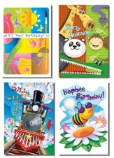 Mixed Graphics Birthday for Kids Cards, Box of 12