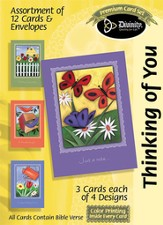 Basic Garden Paintings Thinking of You Cards, Box of 12