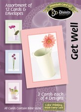 Simplistic Flowers in a Vase Get Well Cards, Box of 12