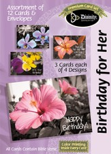 Flowers on Gray Birthday Cards, Box of 12