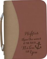 Mightier Than the Waves Bible Cover, Red and Tan, Large