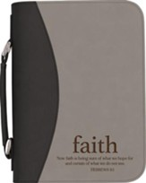 Now Faith Is Being Sure Bible Cover, Black and Gray, Large