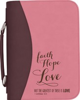 Faith, Hope, Love Bible Cover, Pink and Purple, Large