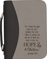 Hope & A Future Bible Cover, Black and Gray, Large