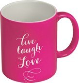 Live, Love, Laugh Mug, Pink