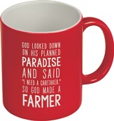 God Made A Farmer Mug, Red