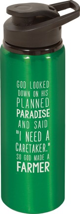 God Made A Farmer Water Bottle, Green