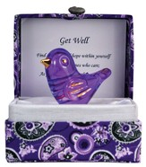 Get Well Glass Bird in Silk Box