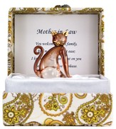 Mother-in-Law Glass Kitten in Silk Box