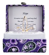 Hope Glass Fleur de Lis in Silk Box