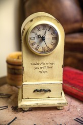 Under His Wings You Will Find Refuge Tabletop Clock