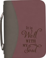 It Is Well With My Soul Bible Cover, Purple and Gray, Large