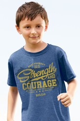 Strength and Courage, Bear Shirt, Blue, Youth Medium