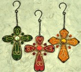 Set of Three Glass Hanging Crosses