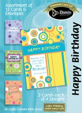Shapes Birthday Cards, Box of 12