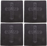 Slate Coaster with Cross