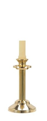 Polished Brass Altar Candlestick 7/8 x 6 3/4  - Slightly Imperfect