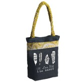 Live, Love, Pray And Be Happy Tote Bag with Sari Handles