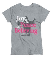 Joy & Peace In Believing, Ladies Shirt, Gray, Medium