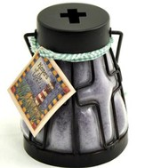 Candle Lantern with Cross Design, Lavender Vanilla