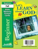 Let's Learn About God Beginner (ages 4 & 5) Mini Bible Memory Picture Cards