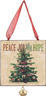Peace, Joy and Hope Ornament with Jingle Bell