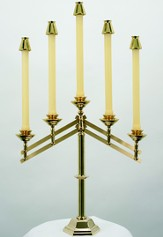 5-Branch Adjustable Brass Candelabra