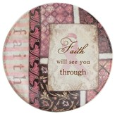 Faith Will See You Through Mini Plate, Pink Ribbon