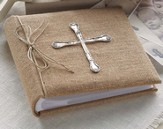 Spoon Cross Burlap Photo Album, Large