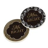 Mr. Right, Mrs. Always Right Car Coasters, Pack of 2
