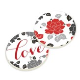 Love, Flower Car Coasters, Pack of 2