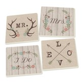 Country Wedding Coasters, Pack of 4