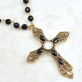 Antique Gold Cross Necklace with Crystal and Black Stones