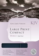 KJV Compact Bible, Large Print, Bonded leather Navy blue w/snap flap