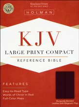 KJV Compact Bible, Large Print, Bonded leather Burgundy w/snap flap