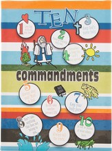 10 Commandments for Kids, Stripes, Canvas Art
