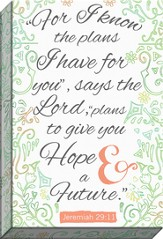 For I Know The Plans Typography Canvas Art, Jeremiah 29:11