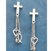 Heart, Fish, Cross Dangle Earrings