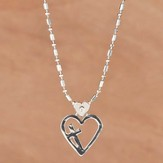 Floating Heart, Cross Necklace - Slightly Imperfect