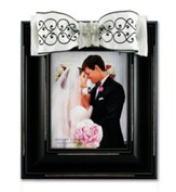 Large Photo Frame - Black and White Scroll w/ Cross Bling