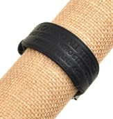 Men's Black Genuine Leather Weight Belt Bracelet-Phil 4:13