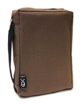 Canvas Weave Bible Cover, Brown Medium