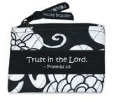 Quilted Coin Purse, Proverbs 3:5, Black and White