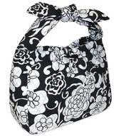Quilted Purse with Tied Handles, John 16:33, Black and White